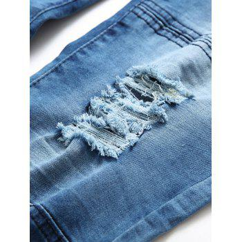 Zip Fly Distressed Tie Dyed Biker Jeans - BLUE 34