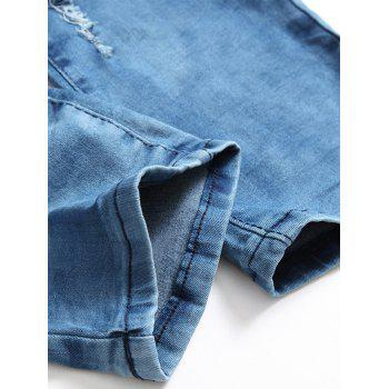 Zip Fly Distressed Tie Dyed Biker Jeans - BLUE BLUE