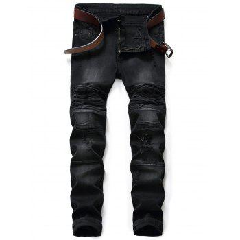 Slim Fit Zip Fly Ripped Biker Jeans - BLACK BLACK