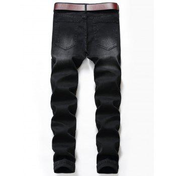 Slim Fit Zip Fly Ripped Biker Jeans - BLACK 34