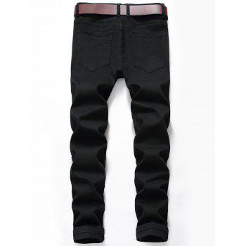 Zip Fly Destroyed Moto Jeans - BLACK 34