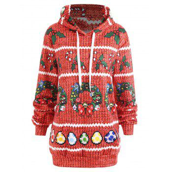 Christmas Berry Bowknot Print Plus Size Hoodie - RED RED