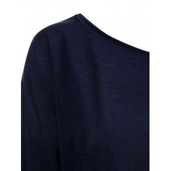 Plus Size  Long Sleeve Skew Neck Plain T-shirt - BLUE 3XL
