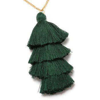 Bohemian Tassel Layered Necklace -  DARK GREEN