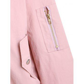 Plus Size Zipper Drop Shoulder Jacket - PINK PINK