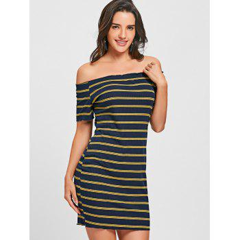 Off The Shoulder Striped Bodycon Dress - BLUE/YELLOW BLUE/YELLOW