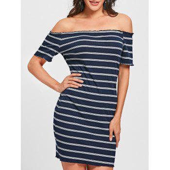 Off The Shoulder Striped Bodycon Dress - BLUE AND WHITE BLUE/WHITE