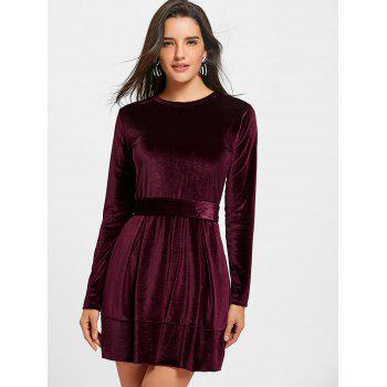Long Sleeve Velvet Belted Mini Dress - WINE RED WINE RED
