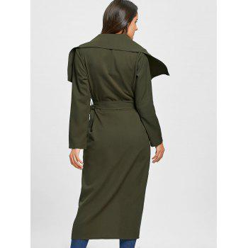 Embroidered Open Front Maxi Cardigan - ARMY GREEN XL