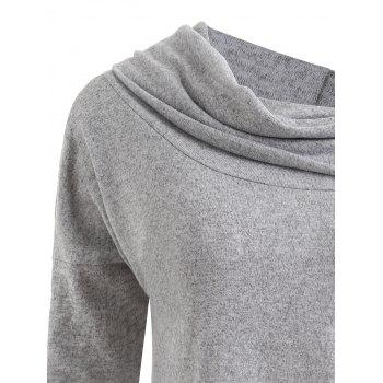 Plus Size Drop Shoulder Convertible Knitwear - GRAY XL