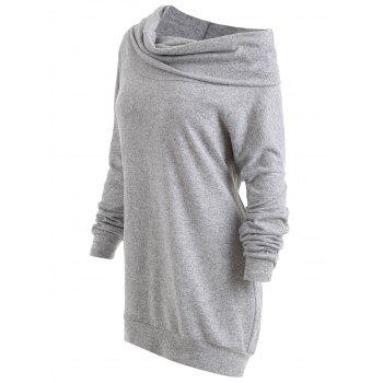Plus Size Drop Shoulder Convertible Knitwear - GRAY 3XL