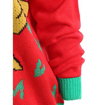 Christmas Bowknot Gift Jacquard Plus Size Sweater - RED 3XL