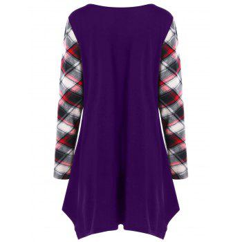 Plus Size Plaid Trim Tunic Tee - CONCORD 3XL
