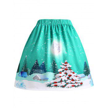 Christmas Tree House Moon Print Plus Size Jupe - Vert XL