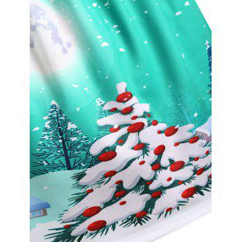Christmas Tree House Moon Print Plus Size Skirt - GREEN 2XL