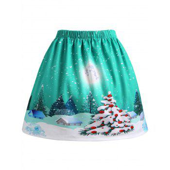 Christmas Tree House Moon Print Plus Size Skirt - GREEN GREEN
