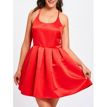 Spaghetti Strap Backless Flare Mini Dress - RED RED