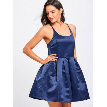 Spaghetti Strap Backless Flare Mini Dress - BLUE XL