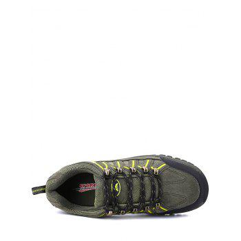 Mesh Suede Panel Travel Outdoor Hiking Shoes - ARMY GREEN 44