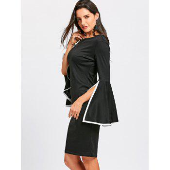 Split Flare Sleeve Sheath Dress - BLACK M