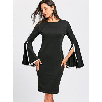 Split Flare Sleeve Sheath Dress - BLACK XL