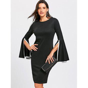 Split Flare Sleeve Sheath Dress - BLACK 2XL