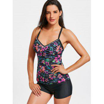 Cross Back Flower Print Tankini Set - FLORAL L