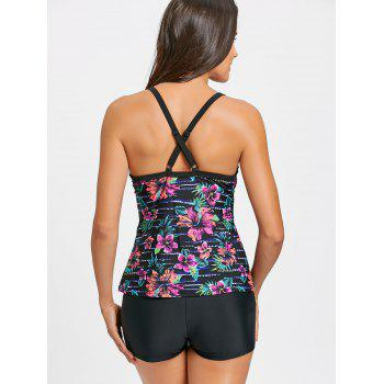 Cross Back Flower Print Tankini Set - FLORAL FLORAL