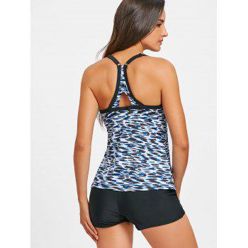 Printed Cut Out Back Tankini Swimwear - FLORAL FLORAL