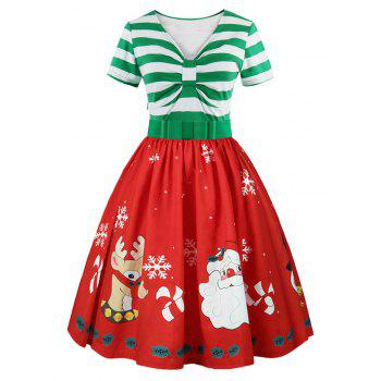 Christmas Printed Short Sleeve Belted Vintage Dress - LIGHT GREEN LIGHT GREEN
