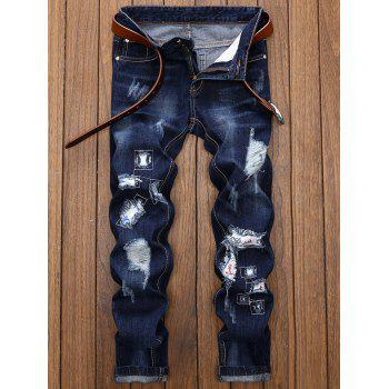 Straight Leg Applique Panel Distressed Jeans - DEEP BLUE 36