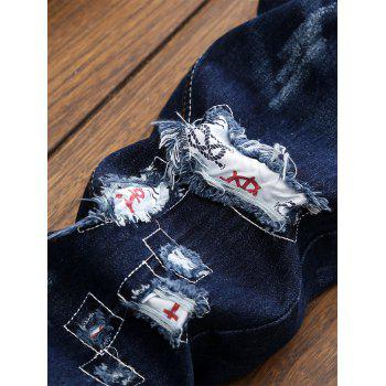 Straight Leg Applique Panel Distressed Jeans - DEEP BLUE DEEP BLUE