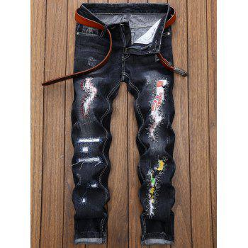 Graphic Applique Insert Straight Leg Distressed Jeans - BLACK 30