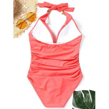 One Piece Ruched Halter Swimsuit - JACINTH S