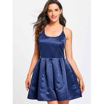 Spaghetti Strap Backless Flare Mini Dress - BLUE S