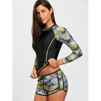 Jungle Print Long Sleeve Swimsuit - BLACK S
