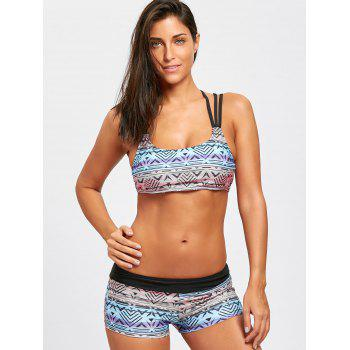 Printed Strappy Bikini Set with Tank Top - BLACK XL