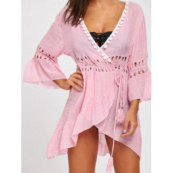 Plunge Flounce Crochet Insert Cover-up Dress - PINK ONE SIZE