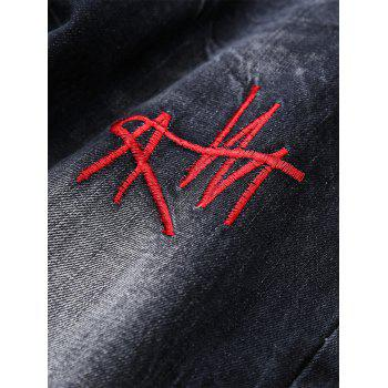 Straight Leg Distressed Embroidered Jeans - BLACK 32