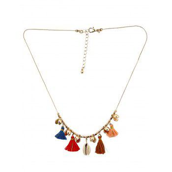 Shell Tassel Charm Necklace