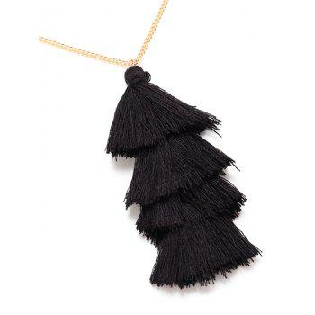 Bohemian Tassel Layered Necklace -  BLACK