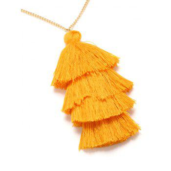 Bohemian Tassel Layered Necklace -  YELLOW