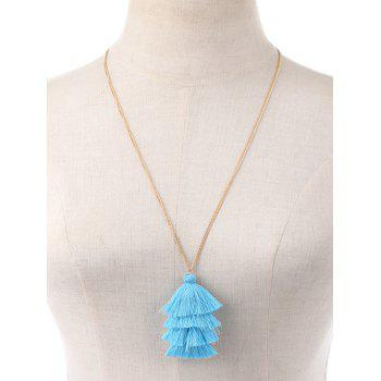 Bohemian Tassel Layered Necklace -  BLUE