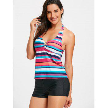 Halter Backless Striped Tankini Set - STRIPE S
