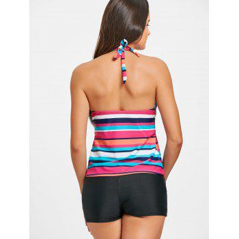 Halter Backless Striped Tankini Set - STRIPE XL