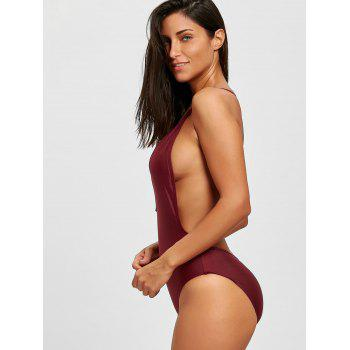 Low Cut Backless One Piece Swimsuit - WINE RED M