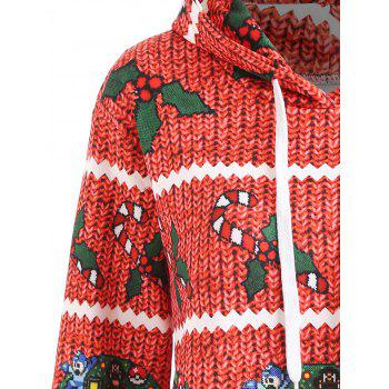 Christmas Berry Bowknot Print Plus Size Hoodie - RED 3XL