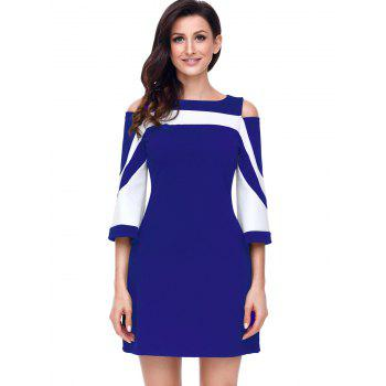 Two Tone Open Shoulder A-line Dress - BLUE L