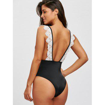 Backless One Piece Lace Trim Swimsuit - BLACK M