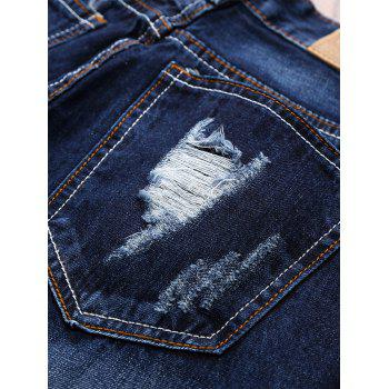Straight Leg Applique Panel Distressed Jeans - DEEP BLUE 30